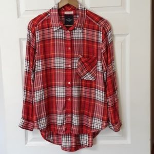 American Eagle Sz L Boyfriend Fit Red Plaid